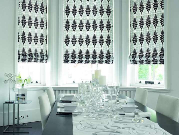 roman blinds dramatic black